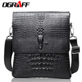 OGRAFF Men messenger bags Crocodile pattern travel bag famous brand high quality leather shoulder bag men business briefcase