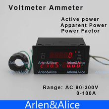 D69 Multi-functional LED display  panel meter voltmeter ammeter with active and apparent power and power factor 80-300V 0-100A