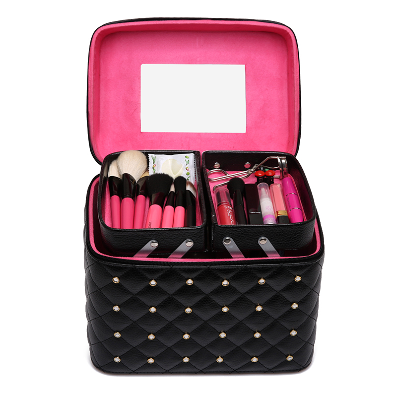 Professional portable Women Makeup bag multi layer Travel Cosmetic Bag large capacity Organizer Case Necessaries Make Up Box  luxcel travel accessory fashion cosmetic case bag large capacity portable women makeup necessaire storage