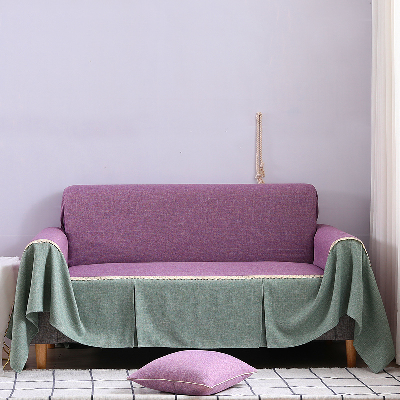 Solid color Sofa Wrap All-inclusive Elegant Sofa Cover Sofa Towel Furniture Slipcover For Sectional Sofa 1pc purple Sofa Cover