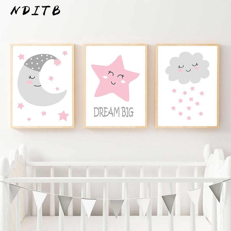 Moon Star Cloud Art Холст плакат мультфильм детская настенная живопись Печать декоративная картина Скандинавское детское украшение для детской спальни
