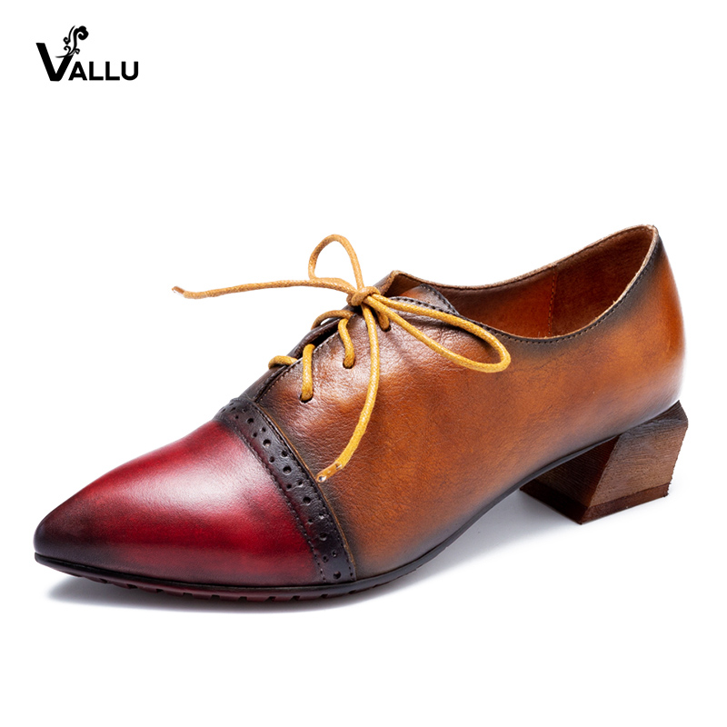купить VALLU 2018 Autumn Pointed Toes Women Pumps Lace Up Mixed Color Square Heels Genuine Leather Ladies High Heel Shoes онлайн