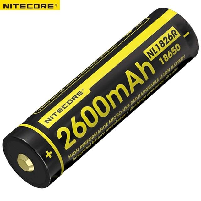 Nitecore nl1826r 2600 mah 3.6 v micro-usb recarregável li-ion 18650 bateria