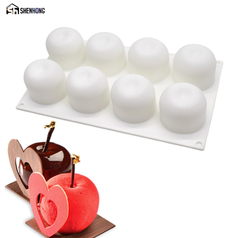 SHENHONG Lifelike Apple 3D Cake Mold Art Decoration Pop Silicone Mousse Silikonowe Formy Moule საცხობი ჩამოსხმის ინსტრუმენტები
