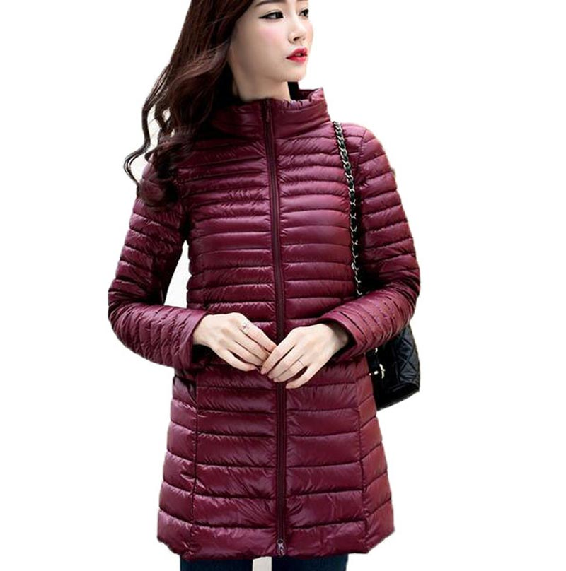2016 new autumn winter 90% white duck long   down   jacket women Ultra light   down     coat   female outerwear CE0341