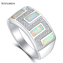 AAA Zirconia brand silver stamped fashion jewelry White fire Opal Party Rings for women SZ #6#6.5#7#7.5#8.5#9 OR725