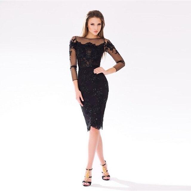 4d81f48db6 2015 Sexy Preto Cocktail de Luxo Vestido Curto Illision Mulheres Formal Vestidos  Vestidos Das Mulheres Vestidos