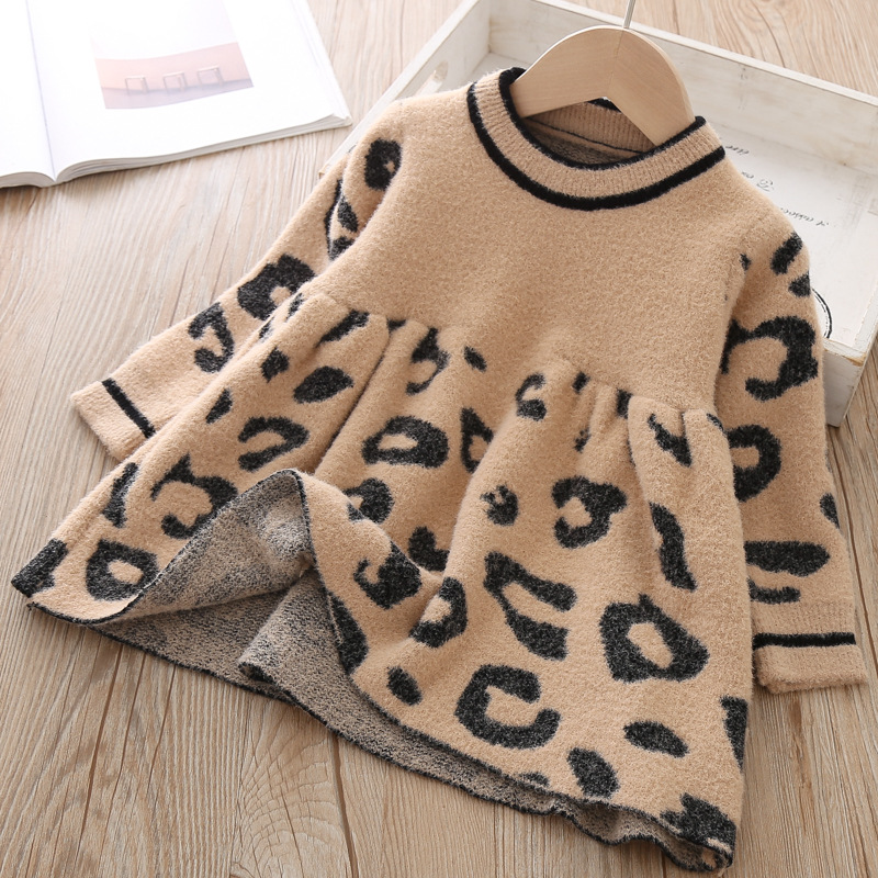 Image 4 - Toddler Sweater Dress 2019 Kids Sweaters Winter Leopard Crystal Children Sweater Dress Toddler Dresses Sweater For Kids-in Dresses from Mother & Kids
