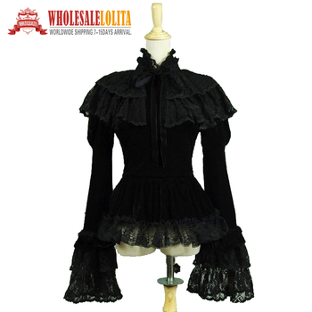Gothic Victorian Black Velvet Blouse Top Steampunk Witch Vampire Theatre Costume