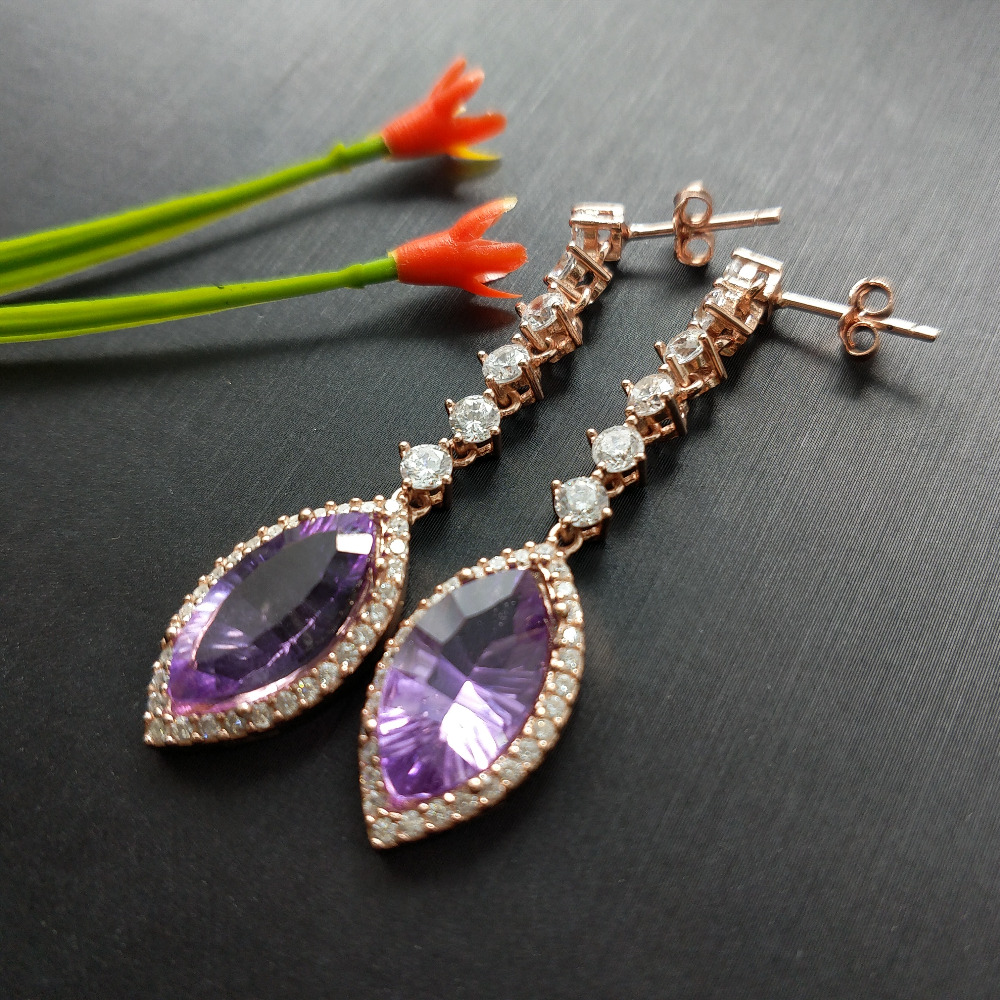 FLZB big long earring 100 natural sterling silver with rose gold plated in natural amethyst MQ