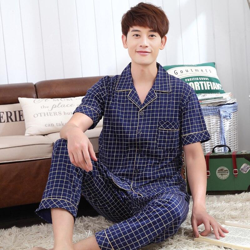 Summer Men Short Sleeve Long Pants Cotton Pajamas Set Male Comfort Brand Large Size Blue Lattice Top Grade Home Pyjamas Suit Set