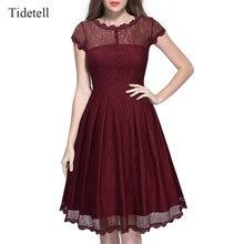 Elegante u-ausschnitt kappen-hülsen knie-länge spitze cocktail dress patchwork see-through party dress taste dünnen populären frauen dress
