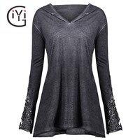 GIYI Plus Size 5XL Casual Tunic Lace Crochet Hooded Velvet Top Autumn 2017 T Shirt Long