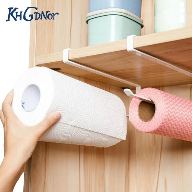 Useful Kitchen Cupboard Hanging Rack Toilet Paper Towel Cabinet Shelf Organizer Roll Holder
