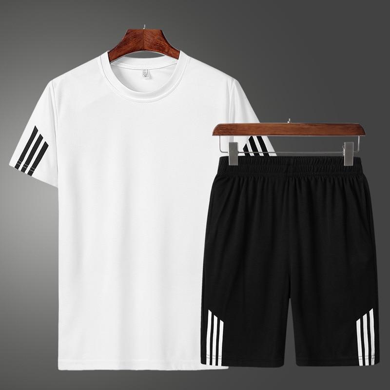 2019 Men Casual Set Fashion 2 PCS Sweat Suit Striped Short Sleeve T-shirt Shorts Sets Male Sportswear Tracksuit Summer Sportsuit