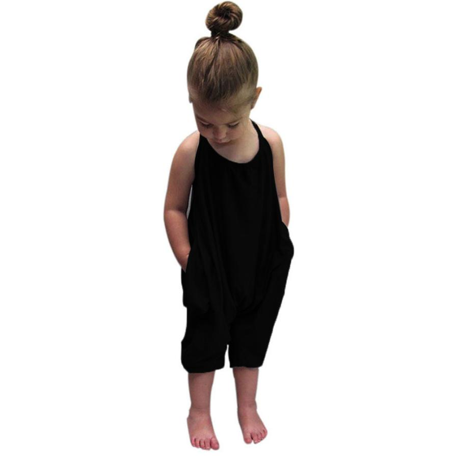 MUQGEW fashion Black Overalls Kids Baby Girls Rompers Straps Jumpsuits Drawstring Chidren Clothing Girl Clothes