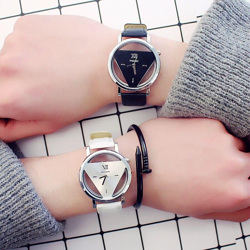 Fashion Women Watches Creative Transparent Watch Ladies Hollow Quartz Watch Casual Leather Wristwatch Clock Montre Femme Relojes