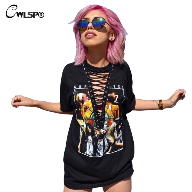 GUN N ROSES kawaii TShirt Women Rock Music Cross Lace up t-shirt Hollow Out V Neck Tops Dress Black Hot camiseta mujer QA1518