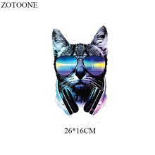 Parches Cool Glasses Cat Patches For T-shirt Clothes Iron-on Transfers Applique Heat Transfer Vinyl Thermal Transfer Printed E parches cartoon cat heat transfer vinyl for t shirts iron on transfers patches for clothing thermal transfer sticker washable e