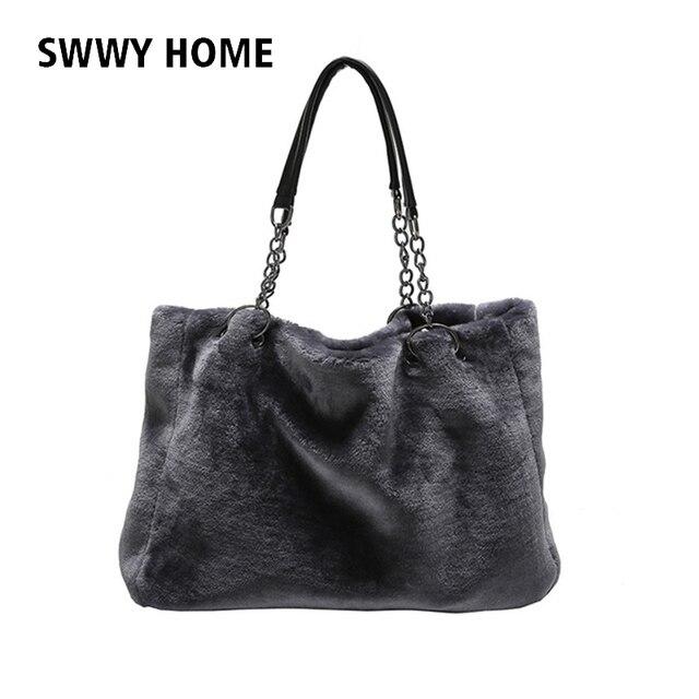 Winter Faux Fur Handbag Women Shoulder Bags Large Capacity Casual Tote Bag Fashion Ping Chain