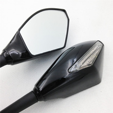 For Motorcycle universal bike BLACK CLEAR Motorcycle Integrated LED Turn Signals Side Mirrors