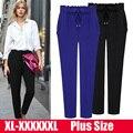Frete grátis 6XL 5XL 4XL 3XL Plus Size mulheres calças calças cintura elástica calças wWomen grande tamanho da mulher