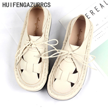 Hot selling,New pattern of 2017 Summer,Weave cowhide flat sandals,Women retro art flat shoes,Hollow muffin Rome Fltas,3 colors