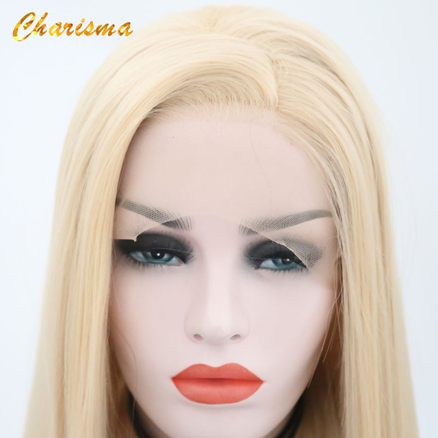 Charyzma syntetyczna koronka peruka front s Blond peruka długie proste włosy z naturalną linią włosów koronkowa peruka na przód peruka damska przedziałek z boku