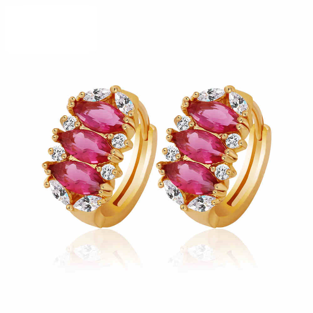 Stylish Luxury Cubic Zirconia Earrings For Lady Women Yellow Gold Filled  Elegant Hoop Earrings(china