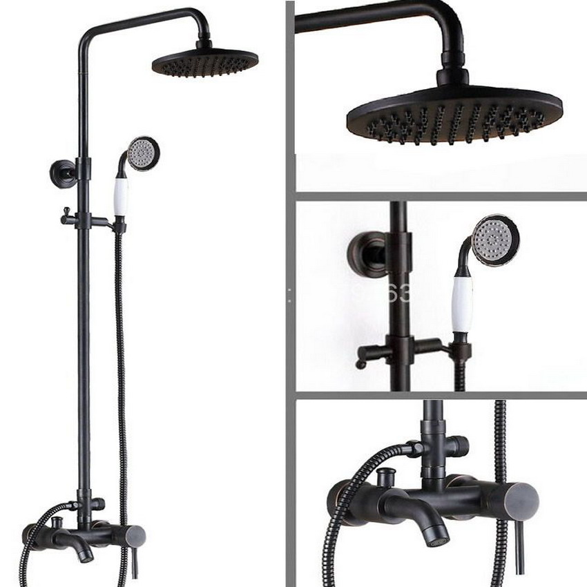 Brass Black Oil Rubbed Bronze Bathroom Rainfall Bathtub Shower Mixer Tap Faucet Single Handle Wall Mounted ars322