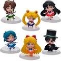 6 unids Anime Sailor Moon figura mercurio marte júpiter Chibimoon Brinquedos figura de acción juguetes Anime figura juguetes niños modelo caliente