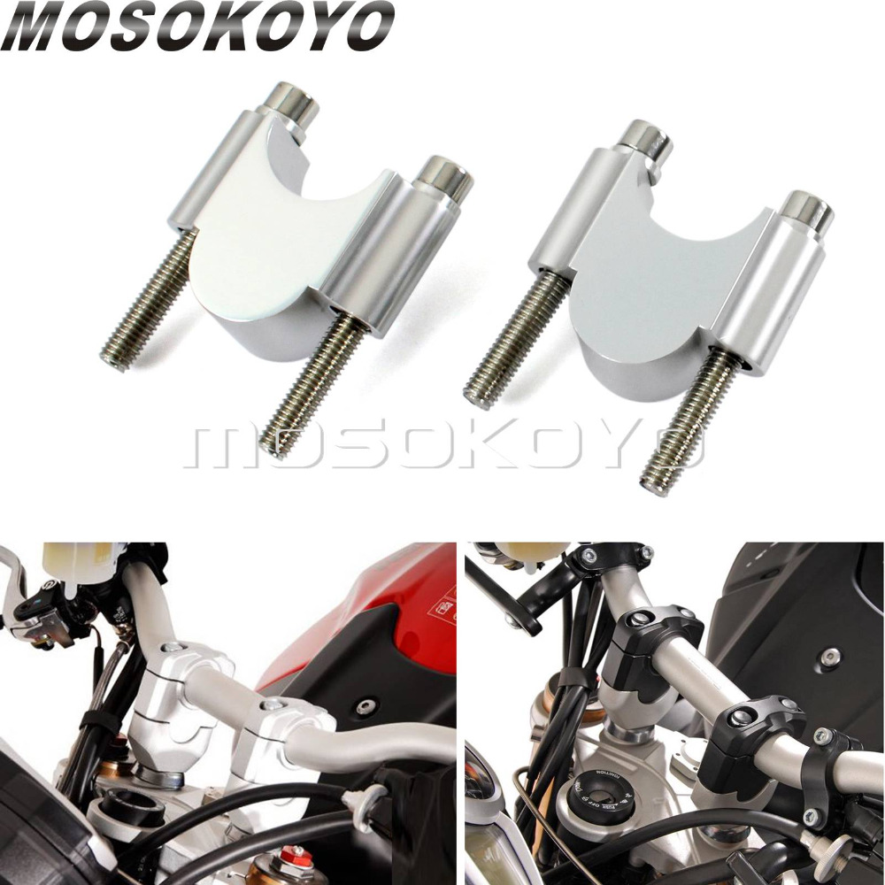 Motorcycle CNC Aluminum 7 8 or 1 1 8 Handlebar Riser Kit 30mm Rise 28mm 22mm