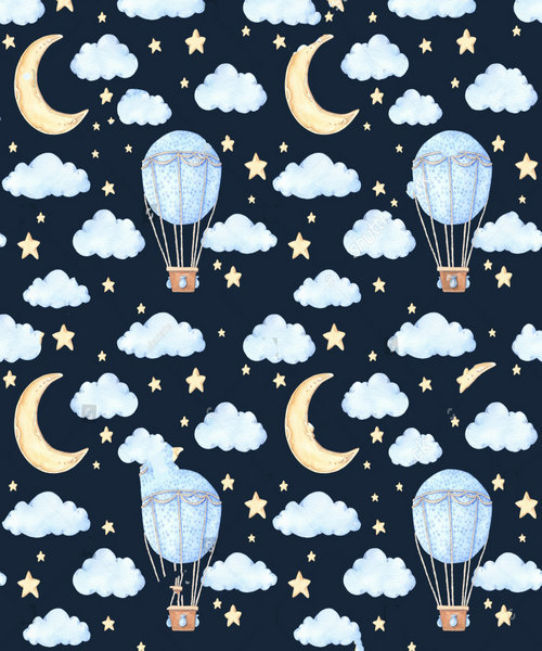 hot air balloon Watercolor star moon clouds Backgrounds polyester or Vinyl cloth High quality Computer print wall backdrop