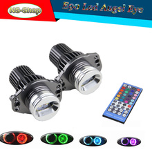 2PCS Multi Color Angel Eyes Headlight For BMW E90 E91 High Power RGBW IR Control Color Change LED Marker