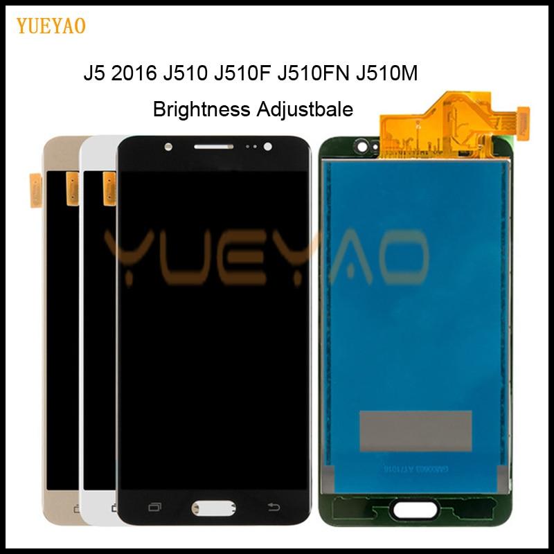 Brilho LCD Para Samsung J5 Adjustbale 2016 SM-J510F J510FN J510M J510Y J510G J510 Display LCD + Touch Screen Digitador Assembléia