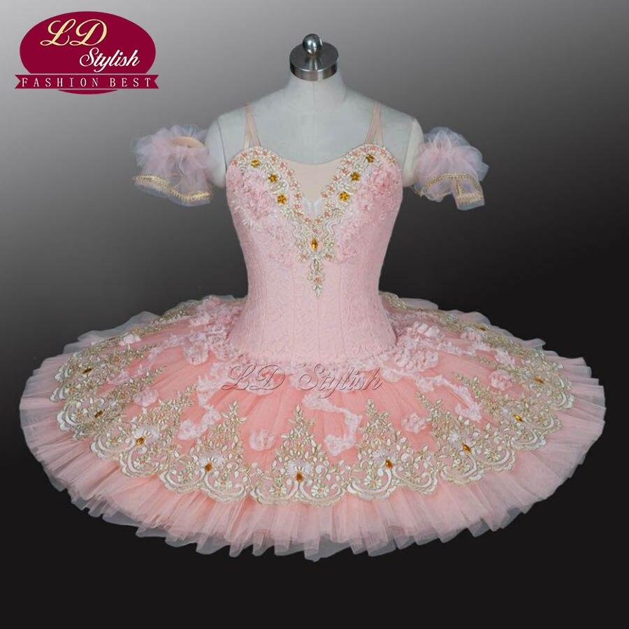 Adulte Rose Professionnel Ballet Tutu Costumes La Belle Au Bois Dormant Performance Concurrence Usage D'étape Filles Ballet Robes