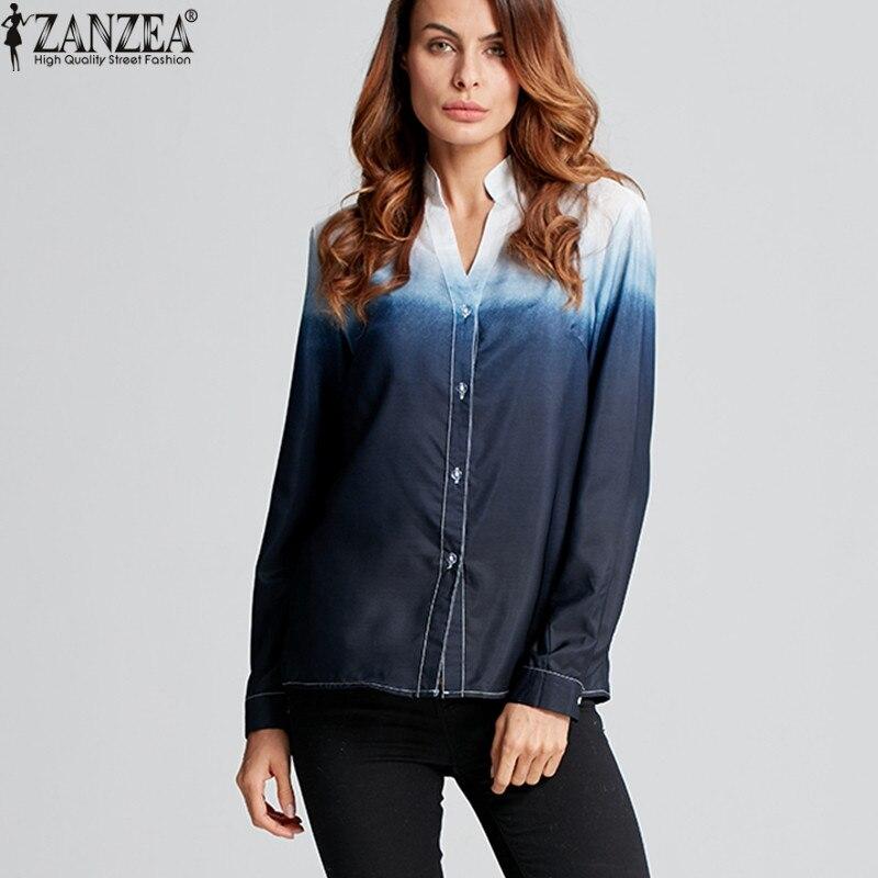 ZANZEA Blusas 2018 Mulheres Da Moda Blusas de Manga Longa Sexy V Senhoras Blusa pescoço Solto Cor Gradiente Camisa de Botão Tops Mais tamanho