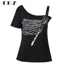 FKZ Sexy Street Summer Tshirt Women Single Shoulder Short Sleeve Dragonfly Printed T shirt Women Cotton Tops Tees S-XXL SKT68