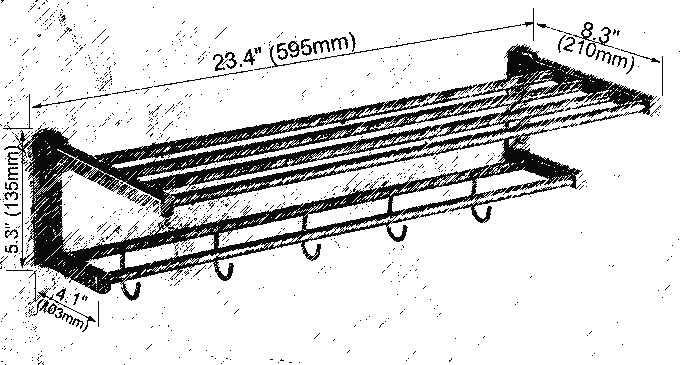 קיר רכוב מלוטש כרום פליז גדול רחצה מגבת בר מגבת רכבת בעל מדף עם ווי אבזר mba323