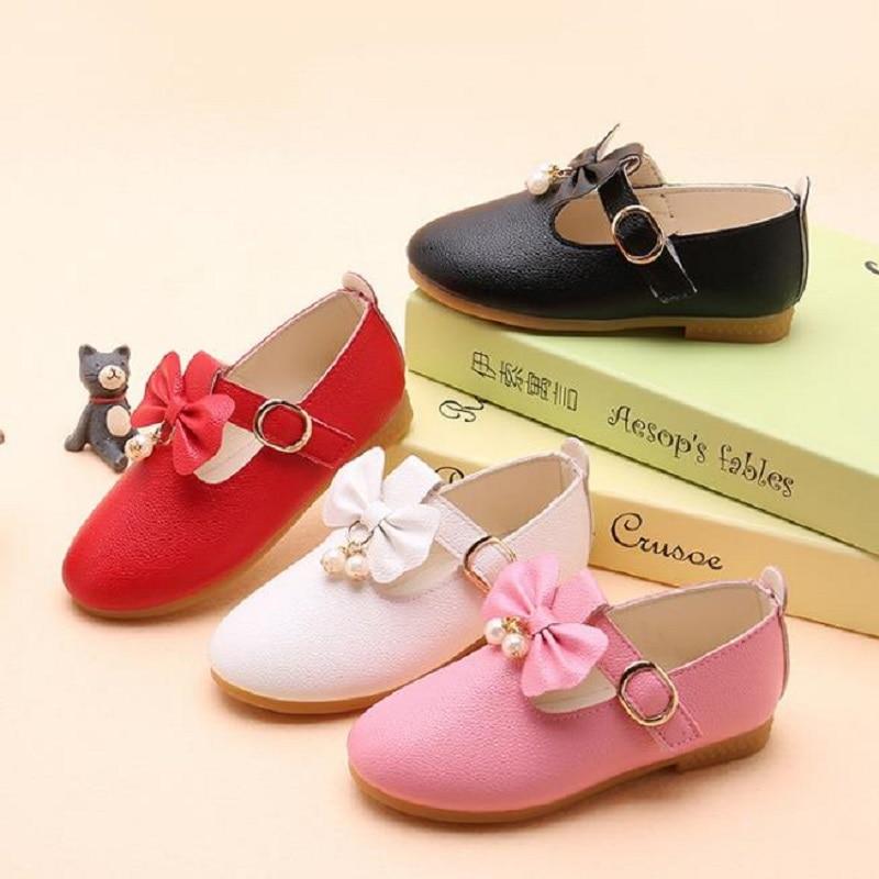 NICBUY tongn Children Girl Shoes Fashion Princess Bowknot Dance Nubuck Leather Single shoes Casual Solid PU Baby Girls Shoe