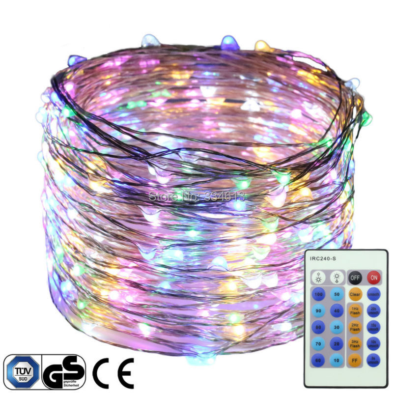 30M 300LEDs Silver Wire Dimmable Flash Yellow LED String Lights Starry Lights Christmas Fairy lights+UL CE Certified Adapter
