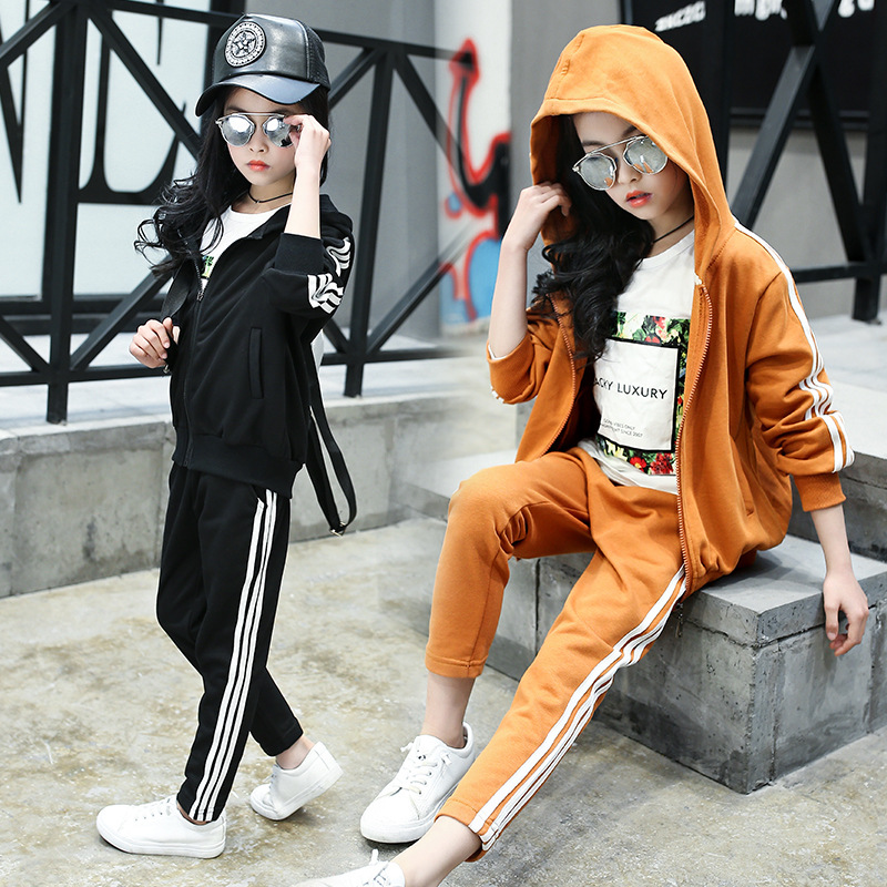 2017 autumn new style suit girl striped two-piece student sportswear youth children clothing sets 4 5 6 7 8 9 10 11 12 years old