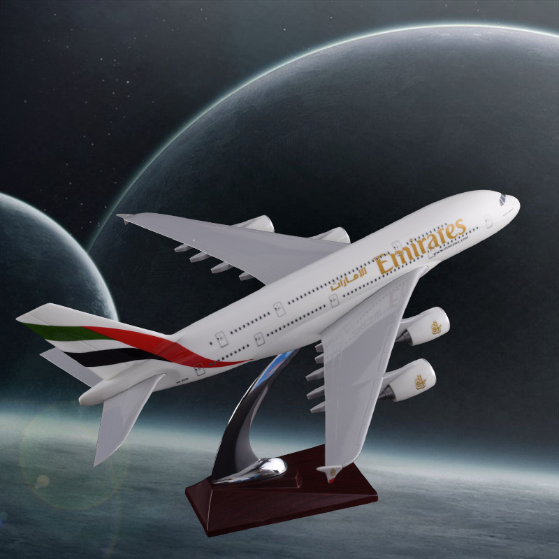 36cm Resin Airplane Model A380 United Arab Emirates Airlines Airbus Model Emirates Airways Souvenir Travel Gift Aircraft Model 36cm resin a380 qatar airlines airbus model qatar international aviation airways aircraft model a380 airplane plane model toy