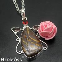 HERMOSA Schmuck einfache fashion natürliche Hämatit Granat 925 sterling silber exquisite Retro halskette anhänger HF1709