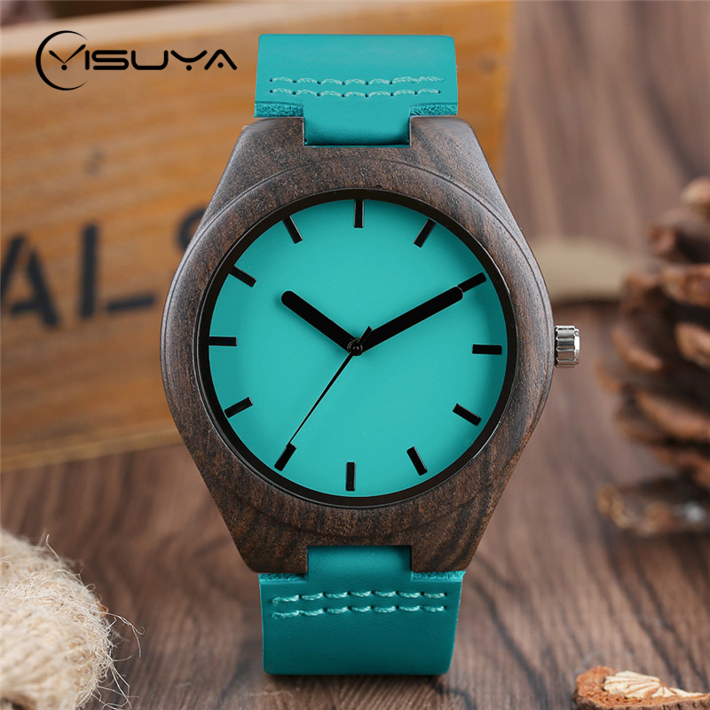 YISUYA 2017 New Mens Fashion Blue Sandalwood Wooden Watches Quartz Analog Wristwatch Creative Women Genuine Leather Wood Clock 3r310 10 2 position 5 way g3 8 port size hand push pull mechanical valve