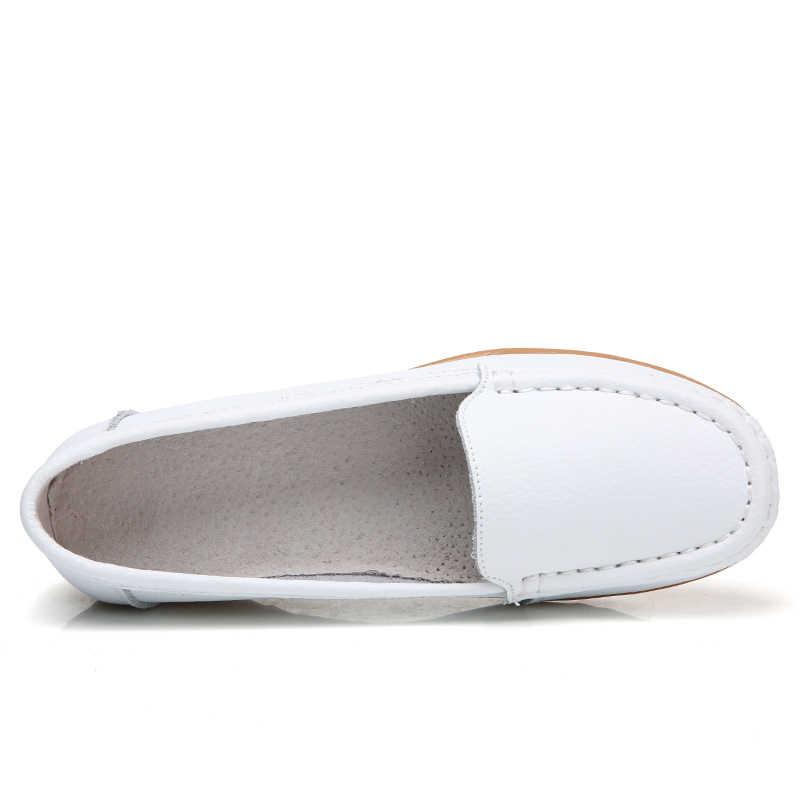 OZERSK Zomer Vrouw Flats Echt Lederen Schoenen Slip Op Ballet Flats Vrouwen Flats Print Vrouw Schoenen Mocassins Zachte Loafers Schoenen