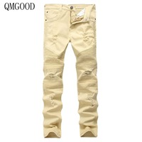 Europe US Style Street BIKER JEANS Tide Brand Motorcycle Men Women Personality Wrinkles Slim Pant High