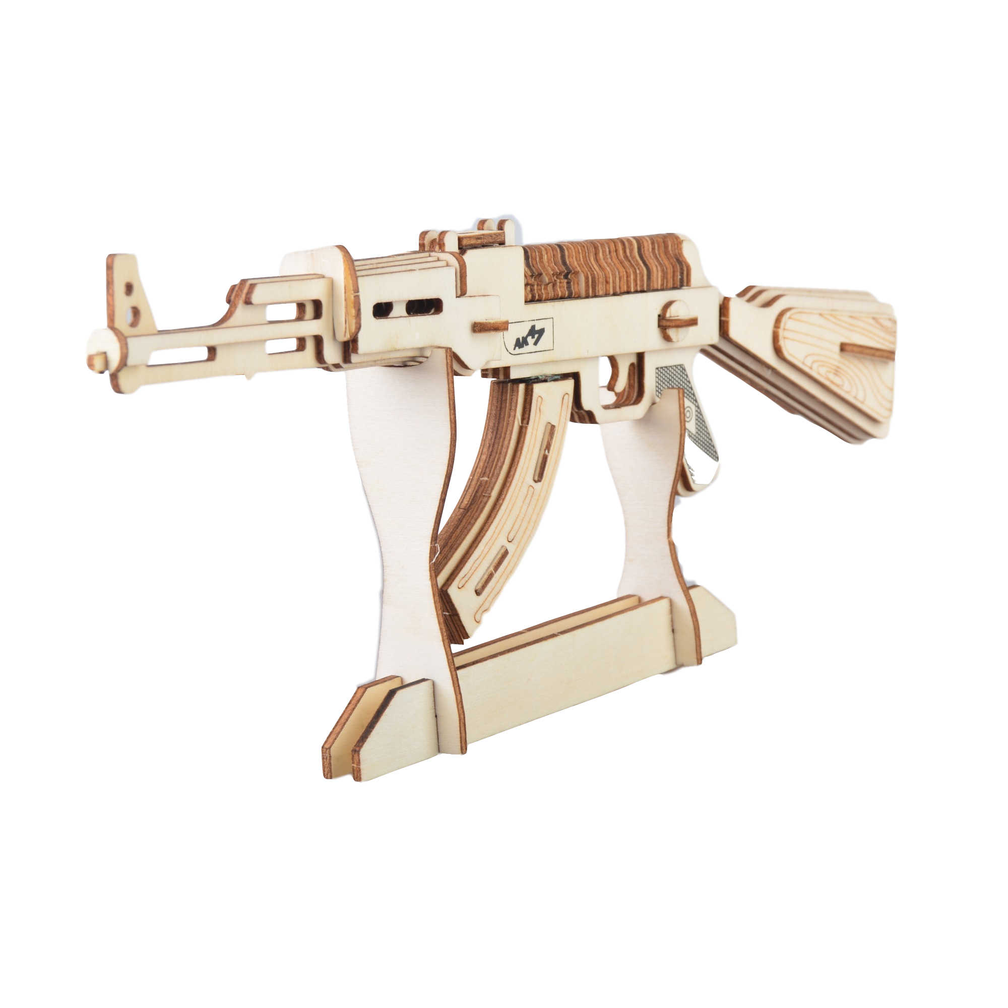 3d Puzzle Wooden Toys Laser Cutting Gun Ak47 Diy Assembly Kit Jigsaw Puzzle Kids Educational Learning Wood Toys For Children