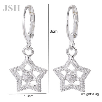 wholesale , For Lady women silver color earrings star charms wedding hook CUTE Bohemia fashion classic jewelry LE044 1
