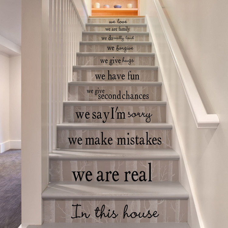 English Proverbs Pvc Wall Stickers Stairway Decor Wallpaper Art Stikers  Decoration Wall Decorative Vinyl Ceramic Tiles In Underwear From Mother U0026  Kids On ...